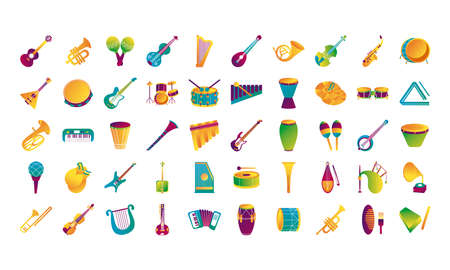 bundle of fifty musical instruments set icons vector illustration design