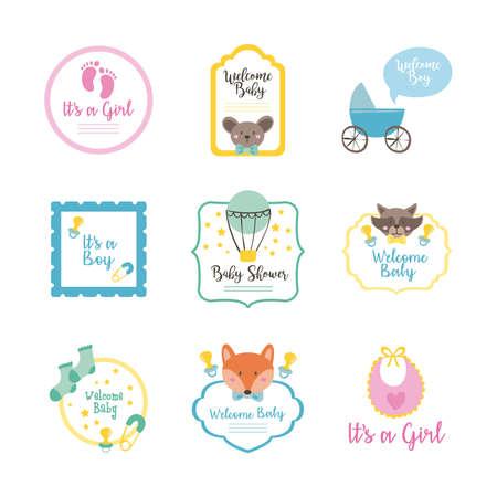 bundle of nine baby shower set icons vector illustration design