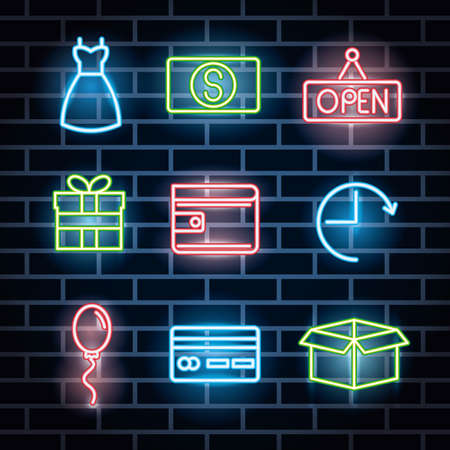 bundle of neon lights icons vector illustration design Иллюстрация