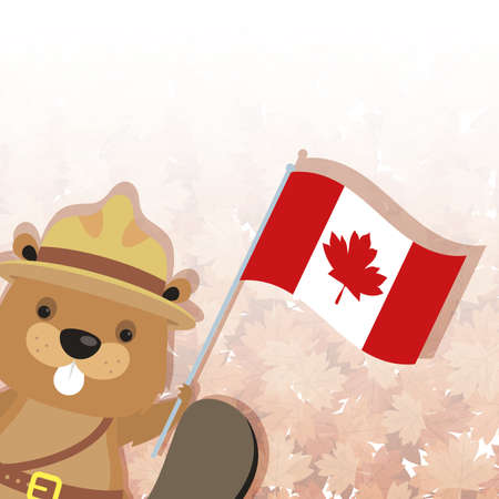 Canadian beaver with hat and flag design, Happy canada day holiday and national theme Vector illustration