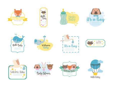 bundle of twelve baby shower set icons vector illustration design