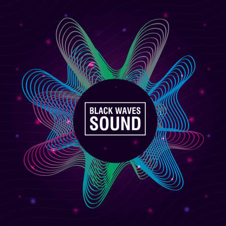 black waves sound blue background vector illustration design
