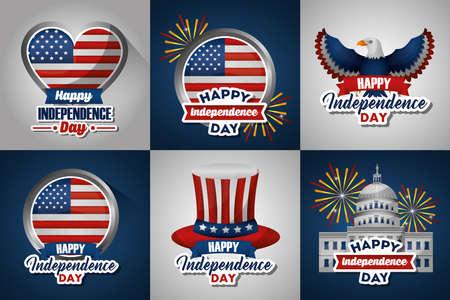 bundle of presidents day set emblems vector illustration design 矢量图像
