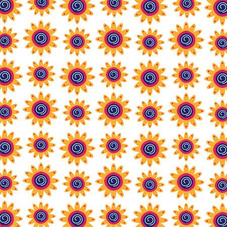 beautiful sunflowers garden pattern background vector illustration design