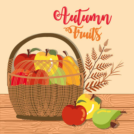 poster autumn with fruits in basket wicker vector illustration design