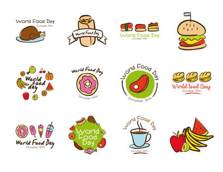 bundle of twelve world food day celebration letterings flat style icons vector illustration design