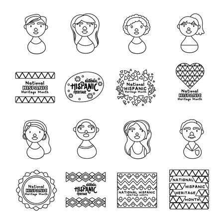 people characters and national hispanic heritage letterings line style icons vector illustration design
