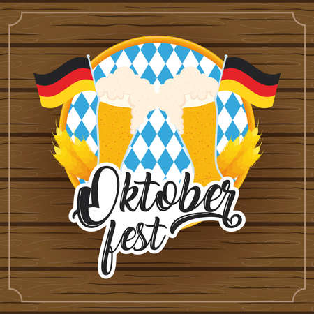 oktoberfest party lettering in poster with beers glasses and germany flags wooden background vector illustration design Illustration