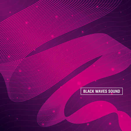 black waves sound pink background vector illustration design