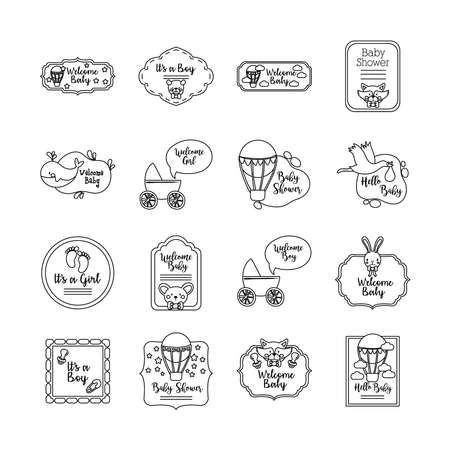 bundle of sixteen baby shower set collection icons vector illustration design 向量圖像