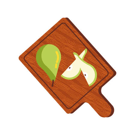 pears autumn fruits seasonal in kitchen board vector illustration design