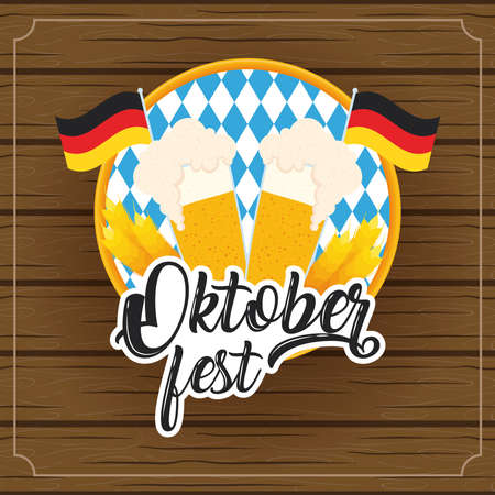 oktoberfest party lettering in poster with beers jars and germany flags wooden background vector illustration design Illustration
