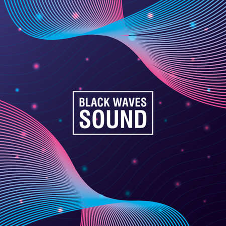 black waves sound purple background vector illustration design 向量圖像