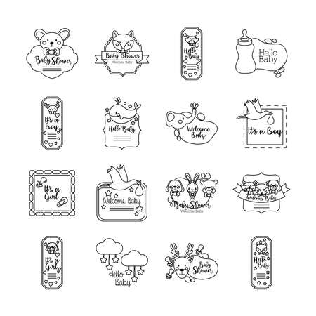bundle of sixteen baby shower set icons vector illustration design 向量圖像