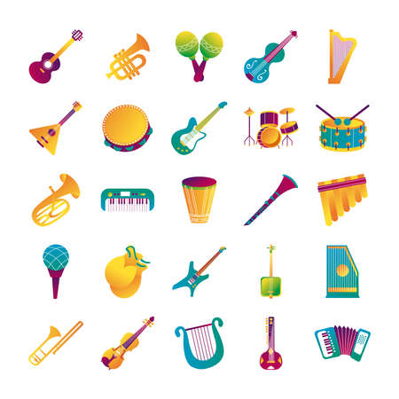 bundle of twenty five musical instruments set collection icons vector illustration design