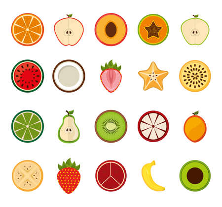 Fruits icon set design, healthy organic food sweet nature juicy and nutrition theme Vector illustration 向量圖像
