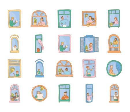 bundle of quarantine activities in apartments windows scenes vector illustration design Ilustracja
