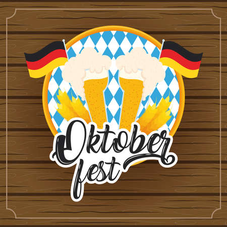 oktoberfest party lettering in poster with beers cups and germany flags wooden background vector illustration design