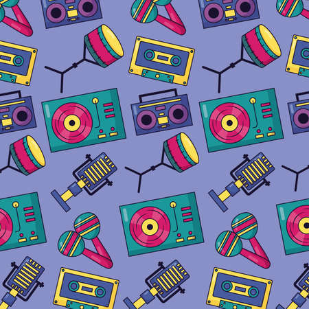 turntable drums boombox maracas music colorful background vector illustration