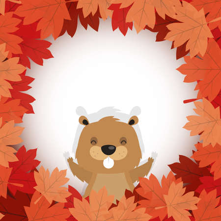 Canadian beaver inside autumn leaves design, Happy canada day holiday and national theme Vector illustration 向量圖像