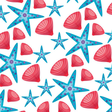 summer time holiday seashell and starfish background vector illustration