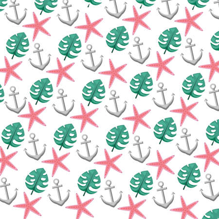 summer time holiday background starfish anchor and leaf vector illustration Ilustrace