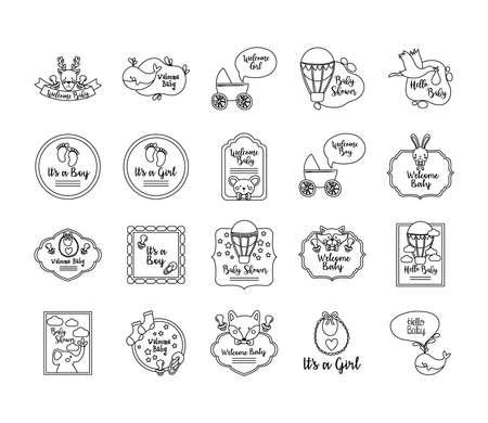 bundle of twenty baby shower set icons vector illustration design