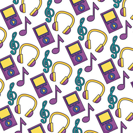 headphone mp3 musical notes festival music background vector illustration 向量圖像