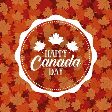 canada day celebration card with maple leafs foliage vector illustration design