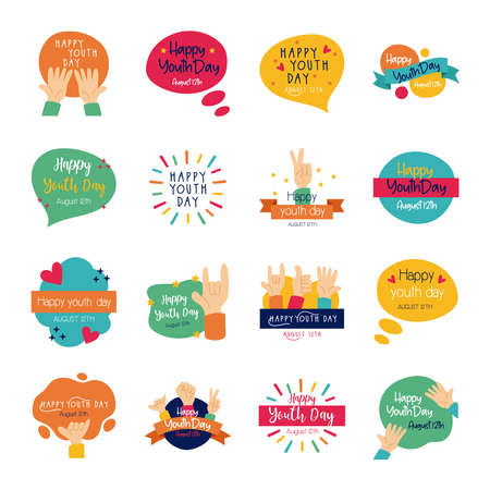 happy youth day bundle of letterings vector illustration design