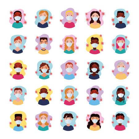 dirvesity people wearing medical mask block style vector illustration design