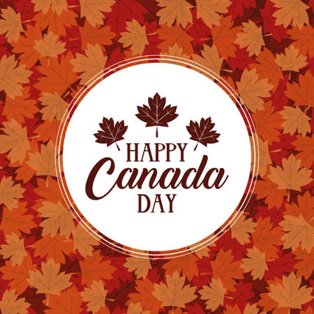 happy canada day with maple leafs frame vector illustration design