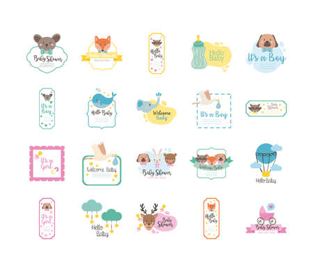 bundle of twenty baby shower set collection icons vector illustration design