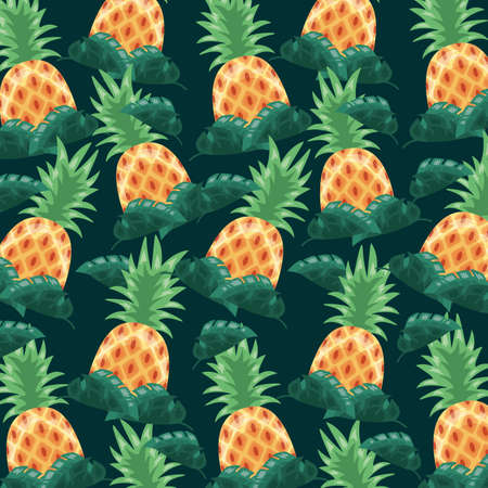 pineapple tropical leaves dark background vector illustration