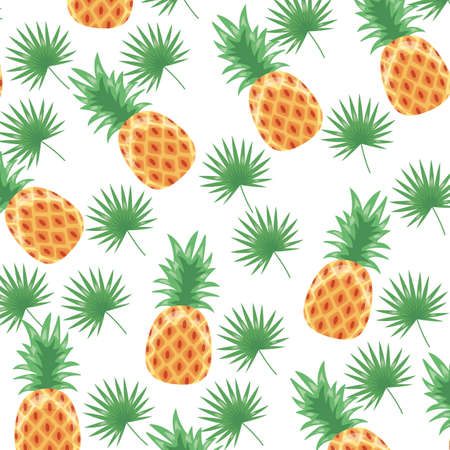 pineapple tropical fruits white background vector illustration