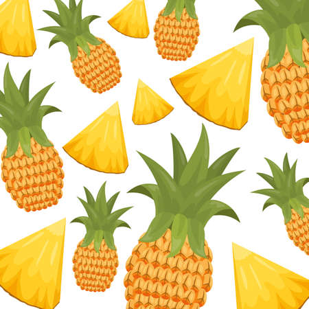 pineapple slices and whole tropical fruits background vector illustration