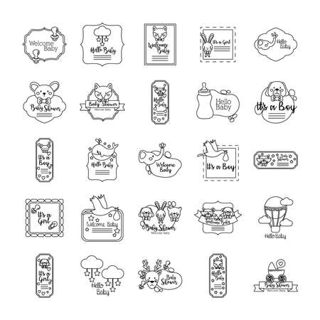 bundle of twenty five baby shower set collection icons vector illustration design 版權商用圖片 - 157671199