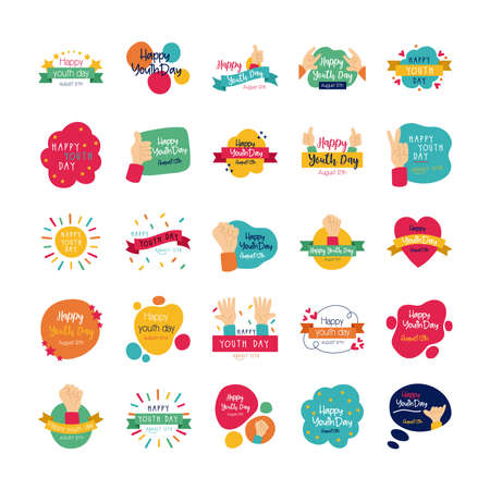 happy youth day bundle of letterings vector illustration design Vettoriali