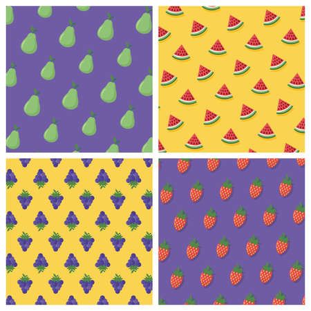 banner pears watermenlon grapes background vector illustration