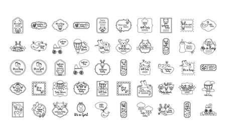 bundle of fifty baby shower set icons vector illustration design