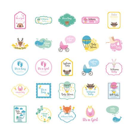 bundle of twenty five baby shower set icons vector illustration design