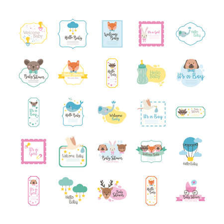 bundle of twenty five baby shower set collection icons vector illustration design