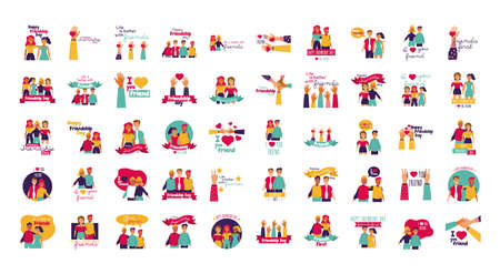 happy friendship day celebration with people and icons set vector illustration design
