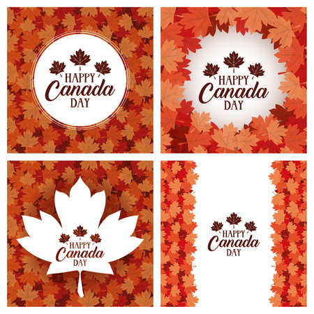 happy canada day with maple leafs frames vector illustration design