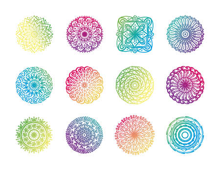 bundle of twelve colorfull mandalas set icons vector illustration design