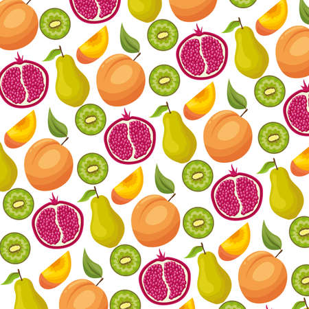 kiwi pear peach and pomegranate tropical fruits background decoration vector illustration