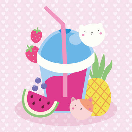 cute kawaii postcard with juice fruits and cat vector illustration design