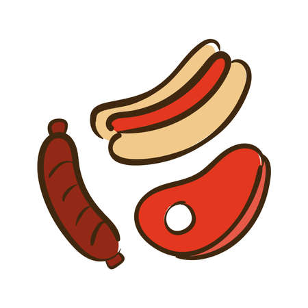 meat with sauce and hot dog flat style icon vector illustration design