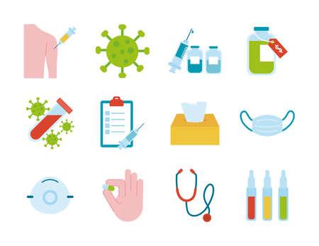 bundle of twelve medical set icons vector illustration design
