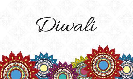 happy diwali celebration lettering with mandalas decoration border vector illustration design